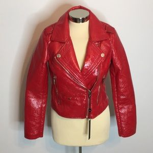 NWT Blank NYC patent faux leather biker jacket